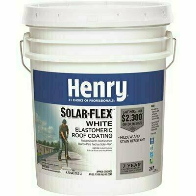 HENRY HENRY287SOLAR-FLEX ACRYLICREFLECTIVE ELASTOMERIC WHITE ROOF COATING  4.75 GALLON