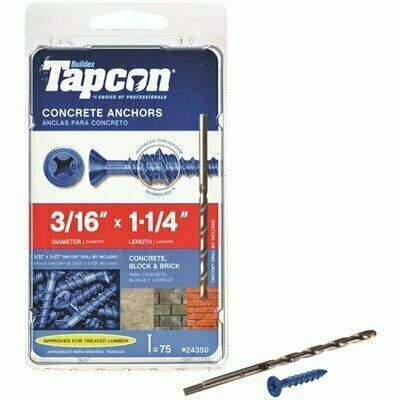 TAPCON 3/16 IN. X 1-1/4 IN. PHILLIPS-FLAT-HEAD CONCRETE ANCHORS (75-PACK)