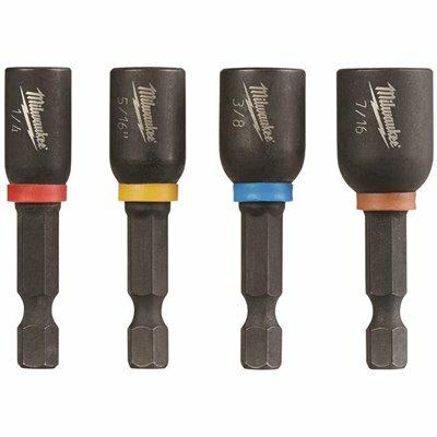 MILWAUKEE 1-7/8 IN. STEEL SHOCKWAVE IMPACT DUTY MAGNETIC NUT DRIVER SET (4-PIECE)