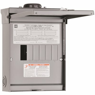 SQUARE D HOMELINE 100 AMP 6-SPACE 12-CIRCUIT OUTDOOR MAIN LUG LOAD CENTER