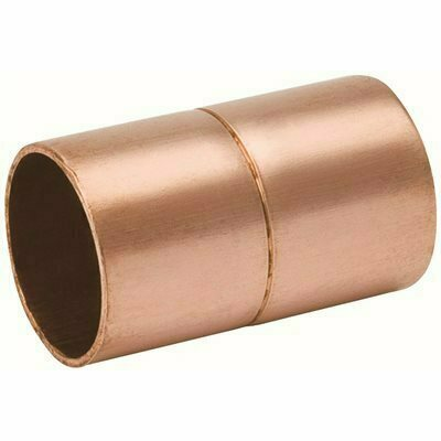 MUELLER STREAMLINE 1/4 IN. X 3/8 IN. O.D. COPPER COUPLING WITH STOP