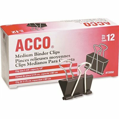 ACCO 1-1/4 IN. W STEEL WIRE MEDIUM BINDER CLIP 5/8 IN. CAPACITY, BLACK/SILVER (12-PACK)