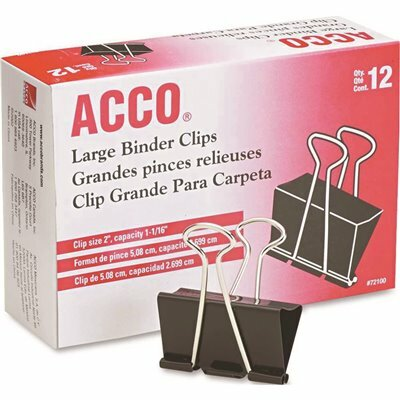 ACCO 2 IN. W X 5/16 IN. CAPACITY LARGE BINDER CLIPS, STEEL WIRE, BLACK/SILVER