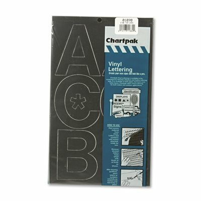 CHARTPAK/PICKETT PRESS-ON VINYL UPPERCASE LETTERS, SELF ADHESIVE, BLACK, 3 IN.H, 50/PACK