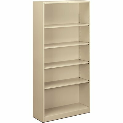 HON 34-1/2 IN. W X 12-5/8 IN. D X 71 IN. H PUTTY 5-SHELVES METAL BOOKCASE