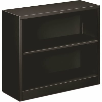 HON 34-1/2 IN. W X 12-5/8 IN. D X 29 IN. H BLACK 2-SHELVES METAL BOOKCASE