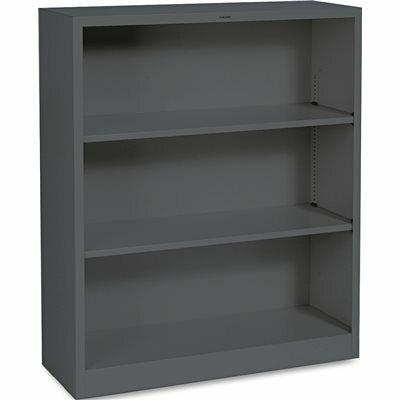 HON COMPANY METAL BOOKCASE, 3 SHELVES, 34-1/2W X 12-5/8D X 41H, CHARCOAL