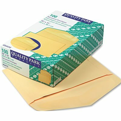 QUALITY PARK PRODUCTS OPEN SIDE BOOKLET ENVELOPE, TRADITIONAL, 15 X 10, CAMEO BUFF, 100/BOX