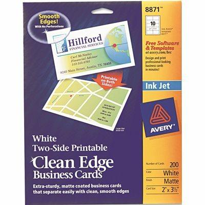 AVERY DENNISON AVERY INKJET MATTE BUSINESS CARDS, 2 X 3 1/2, WHITE, 10/SHEET, 200/PACK