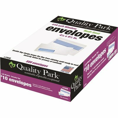 QUALITY PARK #10 REDI-SEAL SECURITY TINTED WINDOW ENVELOPE CONTEMPORARY, WHITE (500/BOX)