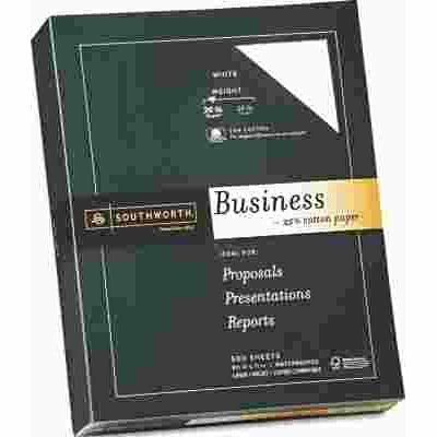 SOUTHWORTH CO. 25% COTTON BUSINESS PAPER, 20 LBS., 8-1/2 X 11, WHITE, 500/BOX