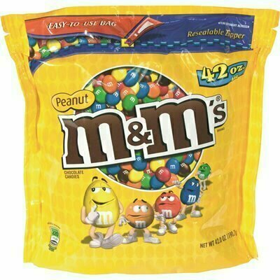 M AND M'S 42 OZ. PEANUT CENTER MILK CHOCOLATE COATED CANDIES