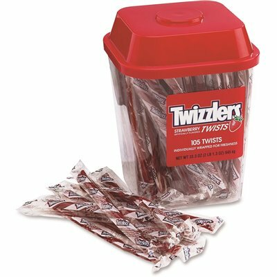 TWIZZLERS 2 LBS. STRAWBERRY TWIZZLERS LICORICE INDIVIDUALLY WRAPPED TUB