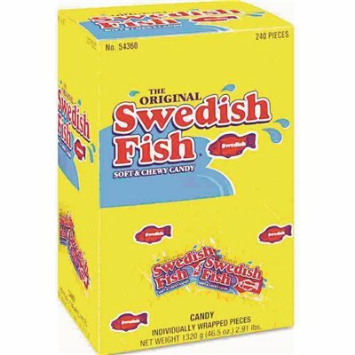 CADBURY SWEDISH FISH GRAB-AND-GO CANDY SNACKS IN RECEPTION BOX (240-PIECES/BOX)