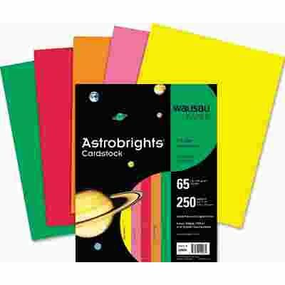 WAUSAU PAPER ASTROBRIGHTS COLORED CARD STOCK, 65 LBS., 8-1/2 X 11, ASSORTED, 250 SHEETS