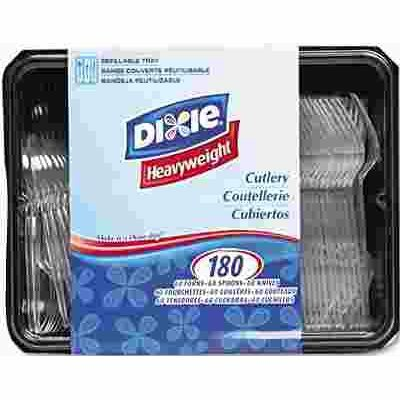 DIXIE CUTLERY KEEPER, TRAY WITH HEAVYWEIGHT CRYSTAL PLASTIC TABLEWARE, 180 PIECES PER PACK