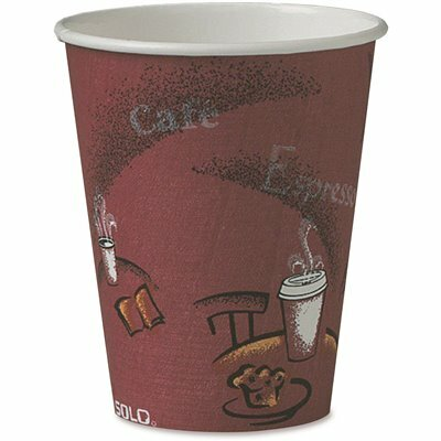 SOLO 8 OZ. BISTRO AND MAROON PAPER HOT DRINK CUPS (50 PER PACK)
