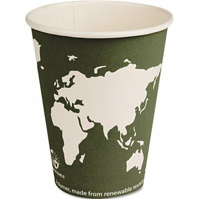 ECO PRODUCTS WORLD ART COMPOSTABLE PLASTIC HOT DRINK CUPS, STEEL BLUE, 12 OZ., 1,000 PER CARTON