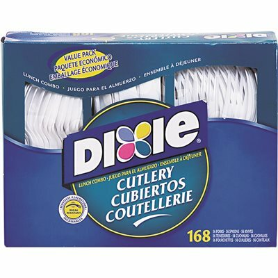 DIXIE HEAVY-DUTY COMBO PACK, TRAY W/PLASTIC FORKS, KNIVES, SPOONS, WE, 168 PIECES/PACK