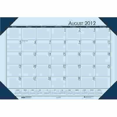 HOUSE OF DOOLITTLE ECOTONES ACADEMIC DESK PAD CALENDAR, 18-1/2W X 13D, BLUE SHEETS/BLUE CORNERS