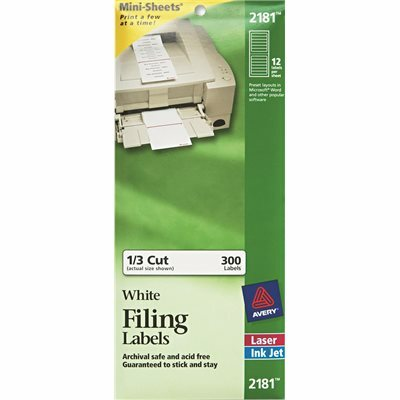 AVERY DENNISON AVERY FILE FOLDER LABELS ON MINI-SHEETS, 2/3 X 3-7/16, WHITE, 300/PACK