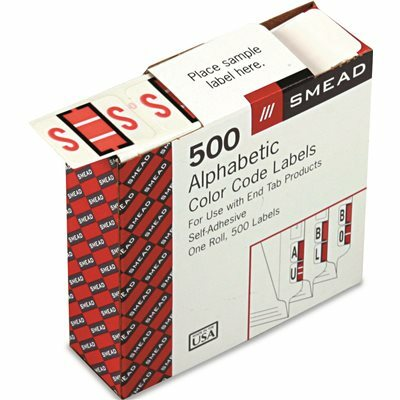 SMEAD MFG. A-Z COLOR-CODED BAR-STYLE END TAB LABELS, LETTER S, PINK, 500/ROLL