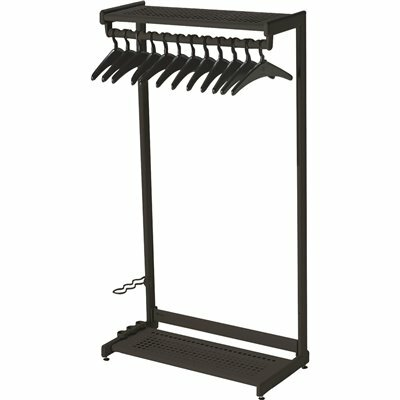 QUARTET 61.5 IN. X 36 IN. BLACK STEEL WIDE SINGLE-SIDED GARMENT RACK WITH 2-SHELVES AND 16-HANGER