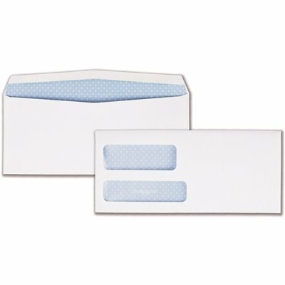 QUALITY PARK #9 DOUBLE WINDOW SECURITY TINTED INVOICE AND CHECK ENVELOPE, WHITE (500/BOX)