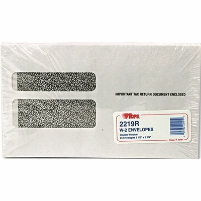 TOPS BUSINESS FORMS DOUBLE WINDOW TAX FORM ENVELOPE/CONTINUOUS W-2 FORMS,9 1/2X5-5/8,24/PACK
