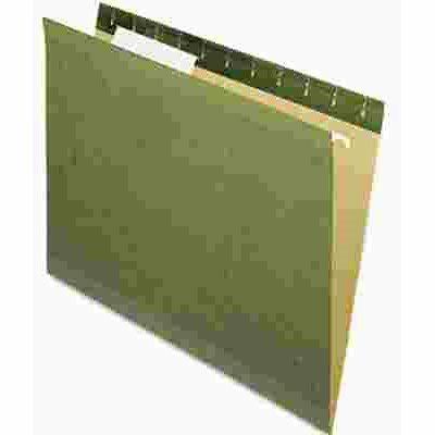 ESSELTE PENDAFLEX CORP. PENDAFLEX REINFORCED HANGING FILE FOLDERS, UNTABBED, KRAFT, LETTER, STANDARD GREEN, 25/BOX