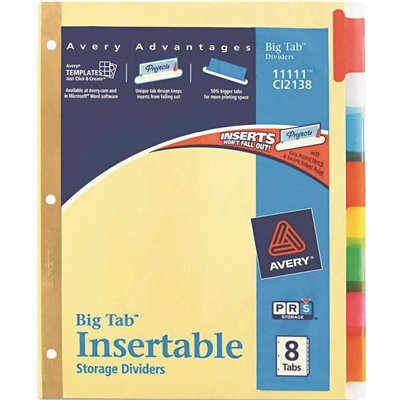AVERY WORK SAVER BIG TAB REINFORCED DIVIDERS, MULTICOLOR TABS, 8-TAB, LETTER, BUFF