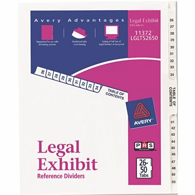 AVERY DENNISON AVERY AVERY-STYLE LEGAL SIDE TAB DIVIDER, TITLE: 26-50, LETTER, WHITE, 1 SET