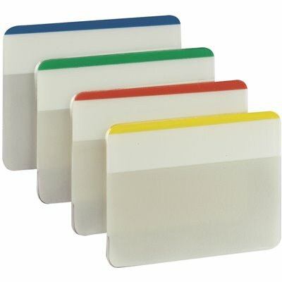 POST-IT 2 IN. X 1.5 IN. BEIGE, GREEN, RED, CANARY YELLOW DURABLE TABS