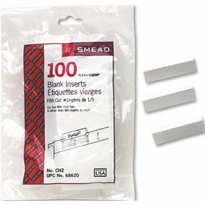 SMEAD MFG. INSERTS FOR HANGING FILE FOLDER TABS, 1/5 TAB, 2 1/8 INCH, WHITE, 100/PACK