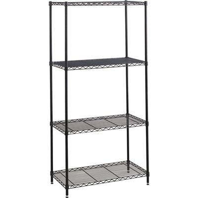 SAFCO 48 IN. W X 18 IN. D X 72 IN. H BLACK INDUSTRIAL WIRE 4-TIER SHELVING STARTER KIT
