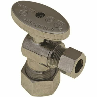 DURAPRO 5/8 IN. O.D. COMPRESSION X 3/8 IN. OD COMPRESSION LEAD FREE QUARTER-TURN ANGLE STOP