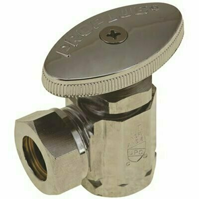 DURAPRO WEST COAST ANGLE STOP, 1/2 IN. IPS X 1/2 IN. AND 7/16 IN. SLIP JOINT, CHROME, LEAD-FREE