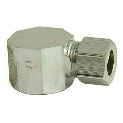 PROPLUS BRASS 90-DEGREE FEMALE ELBOW 1/2 IN. IPS X 3/8 IN. OD IN CHROME LEAD-FREE - PROPLUS PART #: LC 10LF