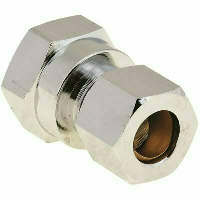 PROPLUS BRASS COMPRESSION COUPLING 3/8 IN. IPS X 3/8 IN. OD CHROME LEAD-FREE