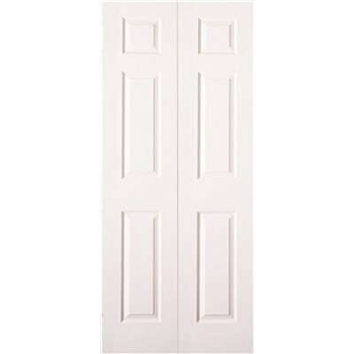 MASONITE 32 IN. X 80 IN. TEXTURED 6-PANEL PRIMED WHITE HOLLOW CORE COMPOSITE BI-FOLD DOOR