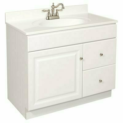 DESIGN HOUSE WYNDHAM READY TO ASSEMBLE 36 IN. W X 31-1/2 IN. D X 21 IN. H 1-DOOR 2-DRAWER IN WHITE BATH VANITY CABINET ONLY