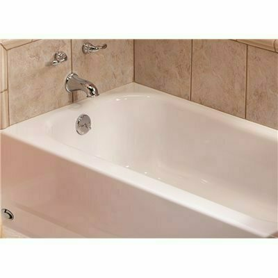 BOOTZ INDUSTRIES BOOTZCAST 60 IN. LEFT DRAIN RECTANGULAR ALCOVE SOAKING BATHTUB IN WHITE