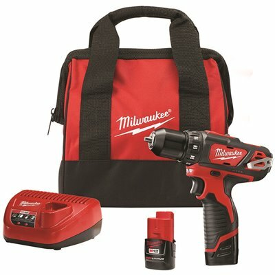 MILWAUKEE M12 12-VOLT LITHIUM-ION CORDLESS 3/8 IN. DRILL/DRIVER KIT WITH TWO 1.5 AH BATTERIES, CHARGER AND TOOL BAG - MILWAUKEE PART #: 2407-22