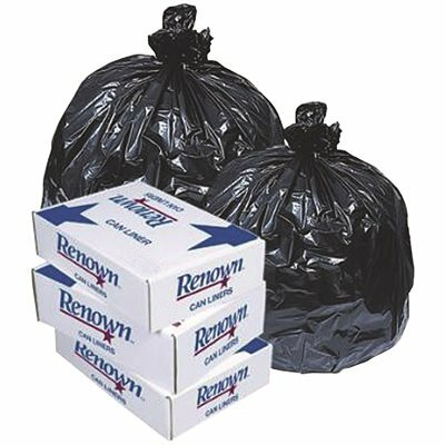 RENOWN FITS 20-30 GAL. 30 IN. X 36 IN. 0.5 MIL BLK CAN LINER (25 PER ROLL, 10-ROLL PER CASE)