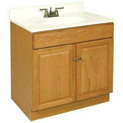 DESIGN HOUSE CLAREMONT READY TO ASSEMBLE 30 IN. W X 31-1/2 IN. D X 18 IN. H, 2-DOOR IN HONEY OAK, BATH VANITY CABINET ONLY - DESIGN HOUSE PART #: 104000