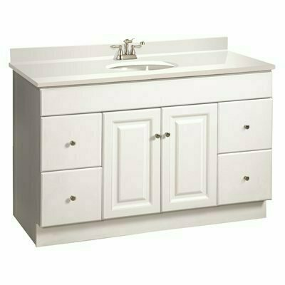 DESIGN HOUSE WYNDHAM READY TO ASSEMBLE 48 IN. W X 31-1/2 IN. D X 21 IN. H 2-DOOR 4-DRAWER IN WHITE BATH VANITY CABINET ONLY