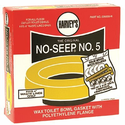 HARVEYS NO SEEP NUMBER 5 TOILET BOWL WAX RING GASKET WITH PLASTIC FLANGE SLEEVE AND TOILET BOWL BOLTS
