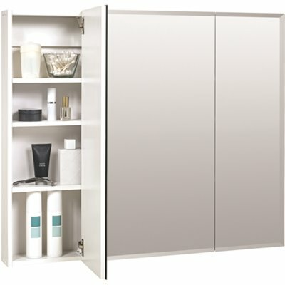 ZENNA HOME 36 IN. X 29 IN. X 4.25 IN. TRI-VIEW SURFACE-MOUNT MEDICINE CABINET IN FRAMELESS MIRROR GLASS
