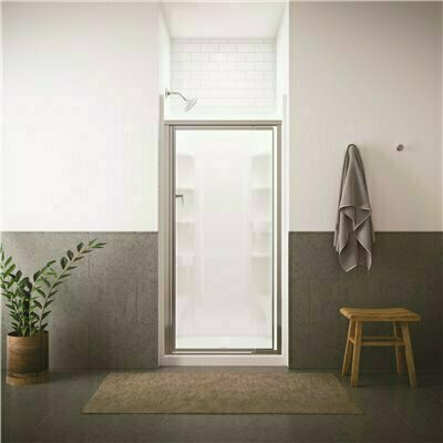 STERLING VISTA PIVOT II 36 IN. X 65-1/2 IN. FRAMED PIVOT SHOWER DOOR IN SILVER WITH HANDLE