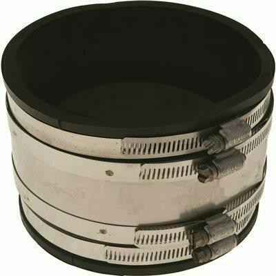FERNCO PVC FLEXIBLE COUPLING, 4X4 IN., CLAY X CAST IRON / PLASTIC
